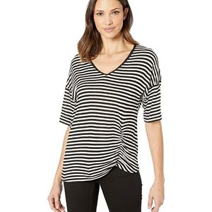 NWT Kenneth Cole Striped V-NeckRuched T-Shirt XS